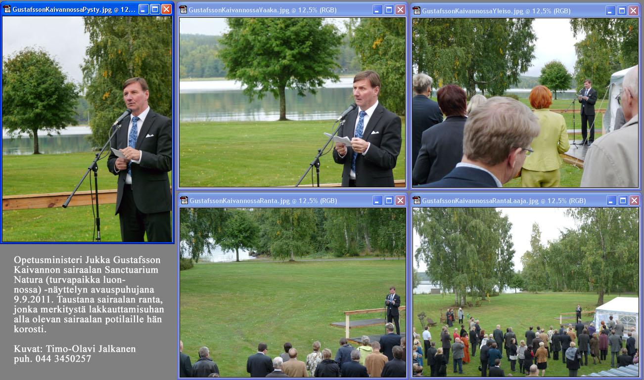 Ministeri Jukka Gustafsson. Sanctuarium         Natura -näyttelyn avaus.