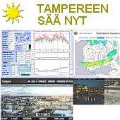 Tampereen sää juuri nyt: tuuli, tuulen                         hyytävyys, lämpötila, sadepilvet, reaaliaikainen                         panoraamakuva Hotelli Ilveksen katolta ja                         Tampereen nettikamerat